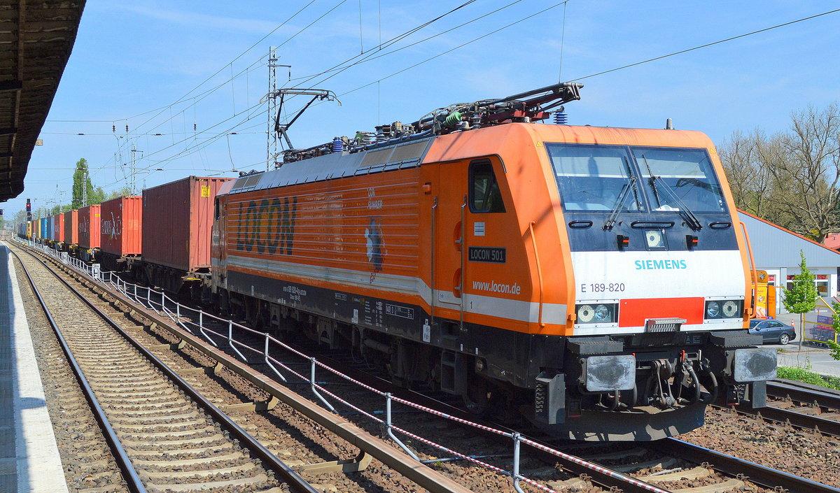 locon 501 e 189 820 mit containerzug am berlin