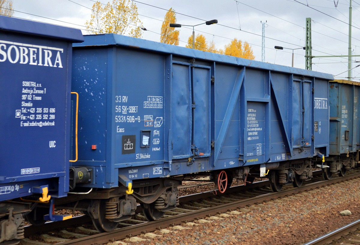 Slowakischer offener Drehgestell-Güterwagen der Fa. SOBETRA a.s. mit ...