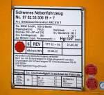 diverse/106324/registriertafel-des-kirow-krc-810-t Registriertafel des KIROW KRC 810 T der Gleisbaufirma MGW GmbH aus Berlin, 30.11.10.