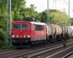 BR 155/93000/155-086-2-mit-einem-leerzug-kesselwagen 155 086-2 mit einem Leerzug Kesselwagen Richtung Schwedt, 20.05.09 Berlin-Karow.