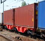 containertragwagen/90856/containertragwageneinheit-der-db-eingestellt-mit-der Containertragwageneinheit der DB eingestellt mit der Nr. 31 RIV 80 D-DB 4960 212-7 Sggrss 733.2, 02.05.09 Bhf. Flughafen Berlin-Schönefeld.