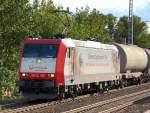 BR 185.5/80509/veolia-cargo-185-cl-003-91-80 Veolia Cargo 185-Cl 003 (91 80 6185 503-0 D-VCD, Bj. 2001) mit einem Ganzzug Staubsilowagen Richtung Bernau, 11.09.09 Berlin-Karow.